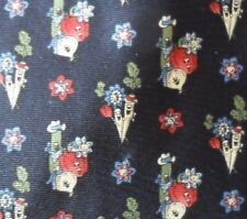 100% Silk Dark Blue White Red and Green Vegetable Character Tie
