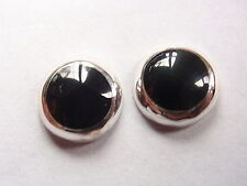 8mm Black Onyx 925 Sterling Silver Stud Earrings Corona Sun Jewelry