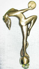"""Topper Lady Nymph car motorcycle hood ornament mascot 5"""" tall brass USA"""
