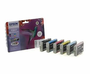 Original Epson T0807 Hummingbird Multipack Ink Cartridges Claria Stylus Photo