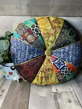 """New Disney Parks Mickey Castle Quilted Vintage Fabric Round 15"""" Throw Pillow"""