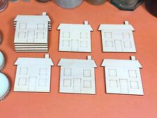WOODEN  HOUSE ETCHED Shapes 6cm (x10) wood home cutouts craft shape blanks