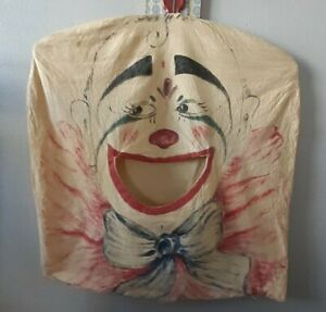 Vintage Clown Clothes Pin Holder Clothespin Bag With Hanger Laundry
