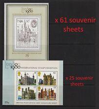 Great Britain - 86 Souvenir sheets - see scan