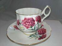 Vintage Tea Cup & Saucer Royal Dover England Bone China January Carnation