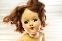 "Vtg 1950s Toni Doll 14"" Tall IDEAL P-90 -Brunette, Brown Dress, Green Eyes"