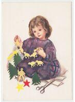 Christmas Card Vintage Years 60 Little Girl Christmas Decorations Paper Zandrino