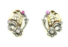 RARE ANTIQUE ART DECO 18K GOLD ROSE CUT DIAMOND RUBY PIERCED EARRINGS LATTICE