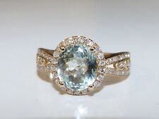 "GENUINE! 2.14cts Brazilian Aquamarine & H/I ""SI"" Diamond Ring 14k Yellow Gold!"
