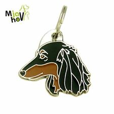 Dog name ID Tag,  Longhaired Dachshund, Personalised, Engraved, Handmade, Charm