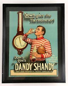 "Circa 1920 ""Dandy Shandy"" Cardboard Advertising Sign w/ Rugby Player"