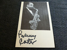 BENNY CARTER signed 4x6.5 inch Paper JAZZ autograph InPerson LOOK