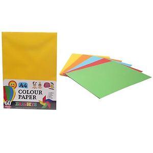 60 Assorted A4 Colour Paper Crafts Arts School Designs Displays Creative Fun