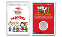Peanuts Original Gang w/ Frankin OFFICIAL JFK Half Dollar Coin in PREMIUM HOLDER