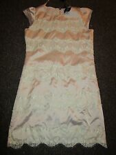 BNWT AX PAris Dress UK 8 Beige Stone Floral Lace Panels Striped Eyelash Shift