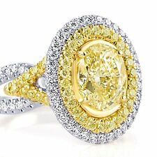 3.22 Ct Fancy Yellow Oval Cut Diamond Engagement Ring 18k White Gold Split Band