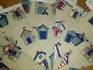 Handmade Beach Hut Fabric Bunting - 12 flags