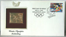 First Day of Issue Winter Olympics Bobsledding 22kt Gold Replica Stamp #76