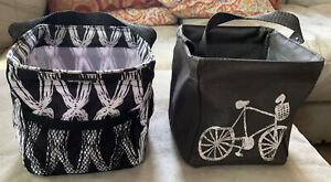 Lot of 2 Thirty One Little carry-all Caddy mini tote 31 Black White Bicycle