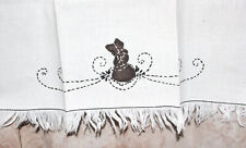 New listing Vintage Dish Towel White Fringe Embroidered Brown Bunny 18� x 27�