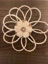 Handmade White Jute Burlap Pearl Loop Daisy Flower Wedding Bridal Cake Baby DIY