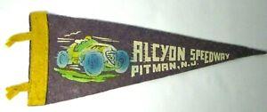 1940s ALCYON SPEEDWAY Pitman NJ Felt Racing Pennant Midget Racer Sprint Car