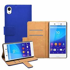 Wallet BLUE Leather Flip Case Cover Pouch Saver For Sony Xperia M4 Aqua experia