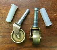 1 Pair New Original Brass Front Casters/Wheels for Spinet/Console Vertical Piano