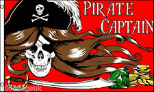 Pirate Lady Pirate Captain Skull with Long Hair & Sword Red 5'x3' Flag !