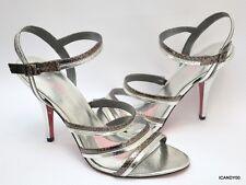 New Paris Hilton MAGGIE Strappy Sandal Pump Stiletto Pump Heel ~Silver/Pewter 10