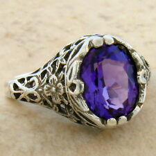 LAB AMETHYST ANTIQUE FILIGREE STYLE 925 STERLING SILVER RING SIZE 5,        #679