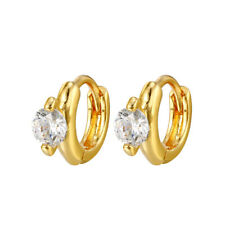 18k Gold Plated Tiny Small Clear CZ Crystal Baby Girl Child Huggie Earrings 7mm