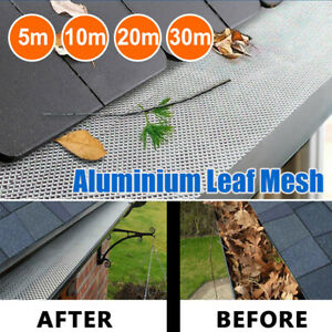 5M 10M 20M 30M Gutter Guard DIY Aluminium Deluxe Leaf Mesh Home Silver 100x20cm