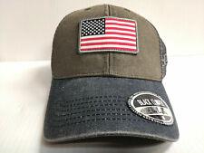 Black Clover Cap USA Flag Patch Adjustable Gray Mesh Golf Hat Live Lucky