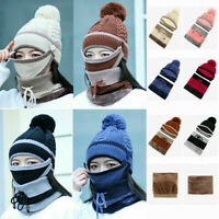 Set Scarf & Hat & Mask Women Winter Warm Knitted Beanie Hat Neck Ladies Ski Cap