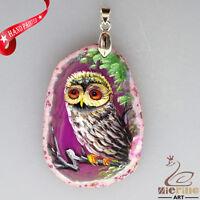 HAND PAINTED OWL BIRD PINK CRYSTAL DRUZY AGATE SLICE GEMSTONE PENDANT ZL8016996