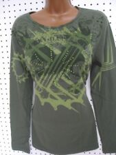 """HARLEY DAVIDSON GREEN """"GEARED UP"""" Style LONG SLEEVE SHIRT w BLING LARGE"""