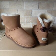UGG MINI BRIGETTE BAILEY BOW CHESTNUT SUEDE SHEEPSKIN BOOTS US 9 WOMENS