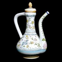 Vintage 1970s Berardos Portugal Unique Hand Painted 11 Inches Tall Pitcher w Lid