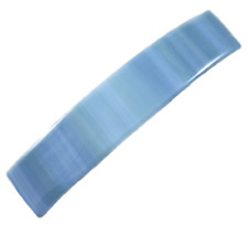 """Stained GLASS BARRETTE Large 3.5"""" 90mm Soft BLUE Green White Striped Hair Clip"""