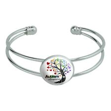 Autism Acceptance Tree of Life with Hearts Silver Plated Metal Cuff Bracelet