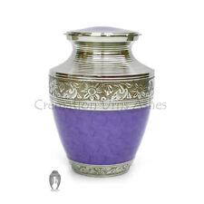 "7"" Inch Medium Nickel Finish Urn, Purple Enamell Brass Memorial Urn for Ashes"