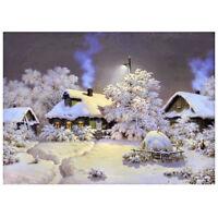 DIY 5D Diamond Embroider Snow hut House Round Diamond Painting Cross White S1F1