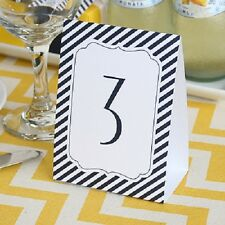 1-40 Navy Stripe Wedding Table Numbers Tent Cards