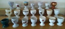 Vintage EGG CUP COLLECTION 21 assorted stemmed EGG CUPS Royal Albert, Wedgwood