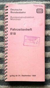 Fahrzeitenheft Buchfahrplan Bundesbahn München 1989