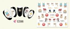 Nail Art Decals Stickers Transfers Kitty Cats Dogs Donuts Coffee Kawaii (E596)