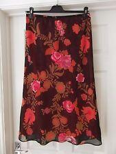 Country Casuals Summer Skirt Black/Pink/Brown/Orange Floral Print Size Medium