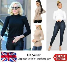 WOMENS LADIES  POLO NECK TURTLE ROLL HIGH NECK JUMPER PLAIN PARTY TOPS SIZE 8-24