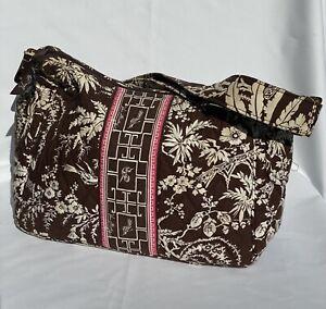Vera Bradley On The Go Shoulder Crossbody Bag Brown Imperial Toile Asian White